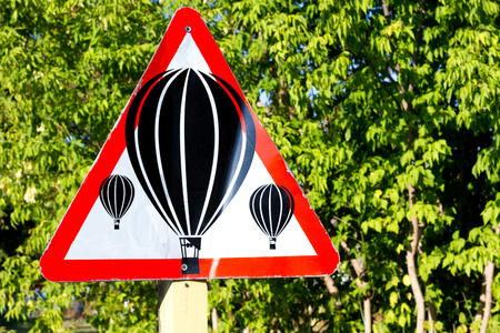 A warning sign that symbolized an air balloon station near