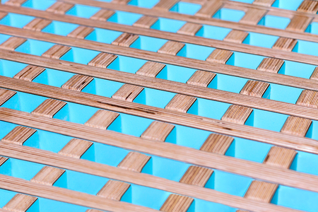 lath in modern: Abstract background. Colorful wooden perpendicular lines Stock Photo