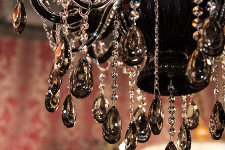 gleams: Elements of crystal strass black lamp Stock Photo