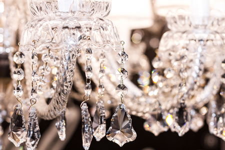 gleams: Close-up shooting of crystal strass white lamp Stock Photo