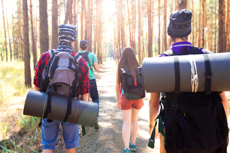 sustainable tourism: Young tourists walking through the wood path with duffel bags and sleeping mats.