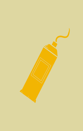 Bright yellow tube with paints icon isolated on yellow background. Vector Illustration