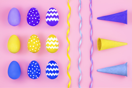 Happy Easter concept. Blue, violet and yellow eggs lying in line, pattern with waffle cones and colorful ribbon on pink background 스톡 콘텐츠