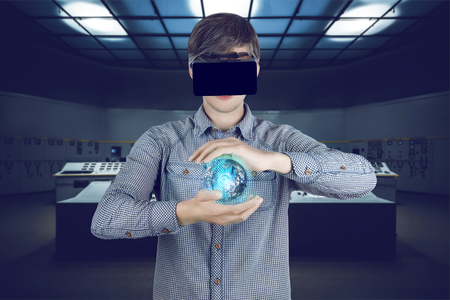 Virtual reality in engineering concept. Male  man wearing shirt and with vr glasses looking at virtual power sphere in his hands on futuristic plant background with control panels. Banco de Imagens