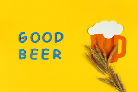 Germany october fest concept. Germany beer with wheat hop blue wooden text