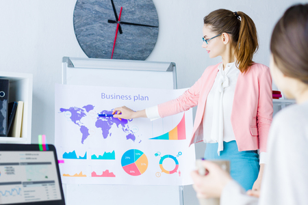 Beautiful professional woman in glasses and colorful cloth share presentation, business plan, idea in modern office meeting room with colleagues. Big boss, team worker, clerk, employee, sync concept Stok Fotoğraf