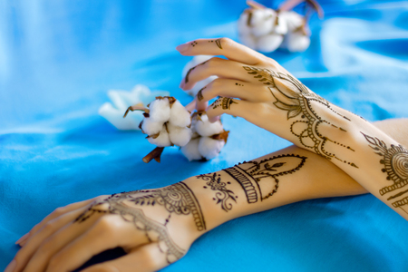 Closeup slender female wrists painted with traditional indian oriental mehndi ornaments. Womens hands decorated with henna tattoo. Sky blue fabric with folds, cotton flowers on background. Stok Fotoğraf