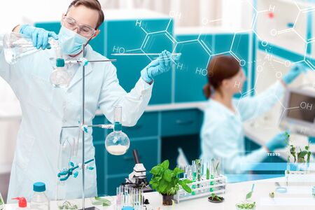 Man is working with laboratory supplies, tools, glass flasks, test tubes. Scientists are making research, conducting experiments, exploring plants, leaves. Biologist, biotechnologist workplace concept Stockfoto
