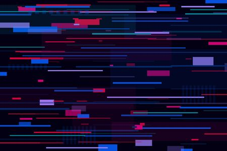 Blue canvas with scattered violet, purple, pink, colorful stripes, rectangles, shapes on it. Glitch, noise, mush, interference effects. Futuristic, space, cybernetic, modern background. Chaos concept Stock Photo