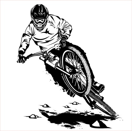 jump downhill mountain bike vector Vectores
