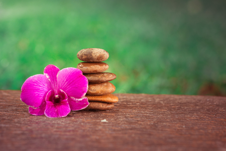shinning leaves: Zen pebbles balance. Spa and healthcare concept.