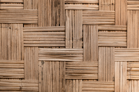 basketry: Native Thai style bamboo pattern basketry handmade and wall Stock Photo