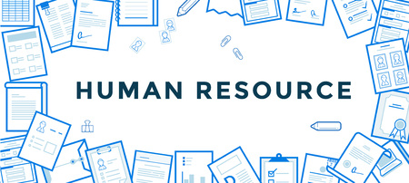 resource: Flat Line Vector Banner about Human Resource for Web Development