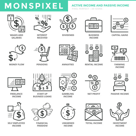 Flat thin line Icons set of Active Income and Passive Income. Pixel Perfect Icons. Simple mono linear pictogram pack stroke  concept for web graphics Illustration
