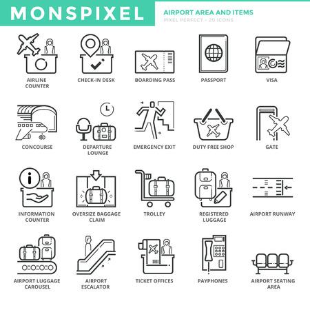 Piatto sottile linea Set di icone di Airport Area e articoli. Pixel Perfect Icons. Concetto di corsa semplice pittogramma mono lineare del tratto per la grafica web Vettoriali
