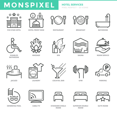 suite: Flat thin line Icons set of Hotel Services. Pixel Perfect Icons. Simple mono linear pictogram pack stroke vconcept for web graphics.