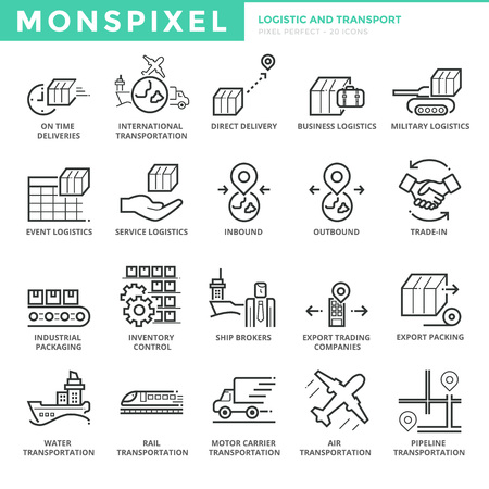 Flat thin line Icons set of Logistic and Transport. Pixel Perfect Icons. Simple mono linear pictogram pack stroke concept for web graphics