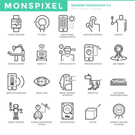 bionics: Flat thin line Icons set of Modern Technology. Pixel Perfect Icons. Simple mono linear pictogram pack stroke concept for web graphics.