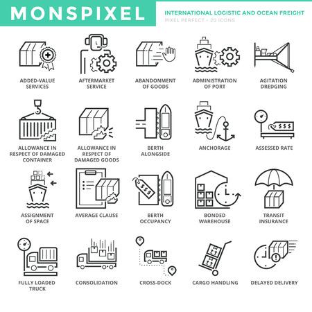 Icone di linea sottile piatta set di logistica internazionale e Ocean Freight. Pixel Perfect Icons. Concetto di colpo semplice pittogramma mono pittogramma lineare per grafica web.
