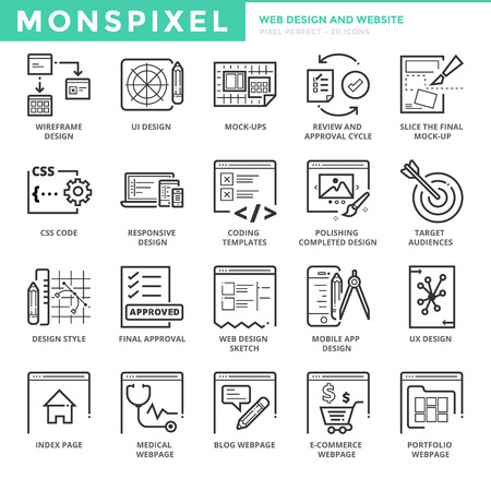 Flat thin line Icons set of Web Design and Websites. Pixel Perfect Icons. Simple mono linear pictogram pack stroke concept for web graphics 向量圖像