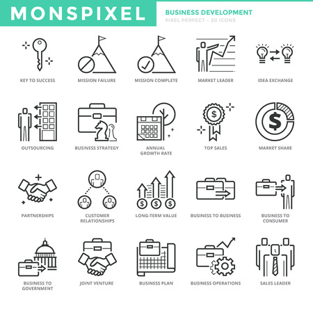 pixel perfect: Flat thin line Icons set of Business Development. Pixel Perfect Icons. Simple mono linear pictogram pack stroke concept for web graphics.