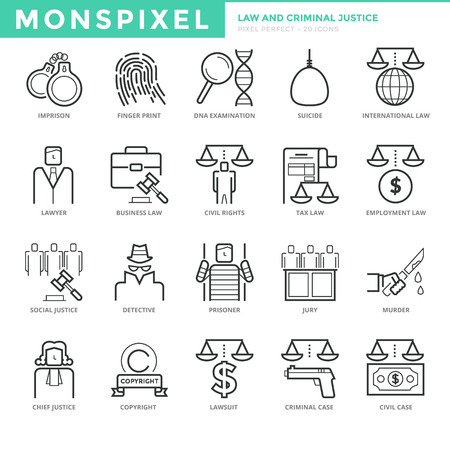 pixel perfect: Flat thin line Icons set of Law and Criminal Justice. Pixel Perfect Icons. Simple mono linear pictogram pack stroke  concept for web graphics. Illustration