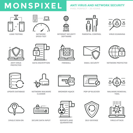 parental control: Flat thin line Icons set of Anti Virus and Network Security for Web Development. Pixel Perfect Icons. Simple mono linear pictogram pack stroke  concept for web graphics.