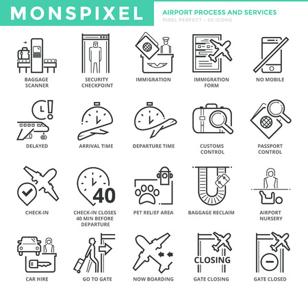 Flat thin line Icons set of Airport Process and Services. Pixel Perfect Icons. Simple mono linear pictogram pack stroke  concept for web graphics