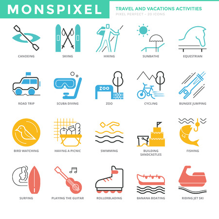 rollerblading: Flat thin line Icons set of Travel and Vacations Activities. Pixel Perfect Icons. Simple mono linear pictogram pack stroke    concept for web graphics. Illustration