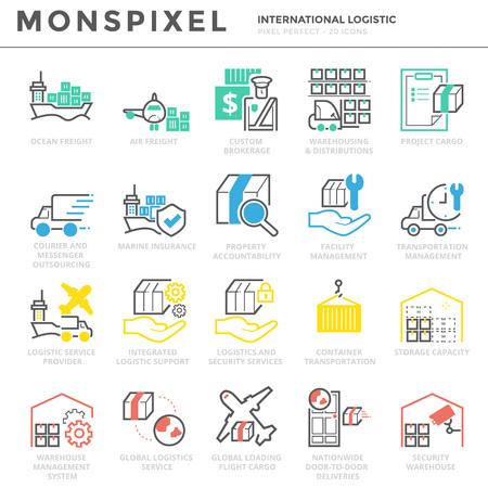Plano de línea delgada conjunto de iconos de Logística Internacional. Pixel Perfect Iconos. Simple mono linear pictogram pack concept de trazo para gráficos web