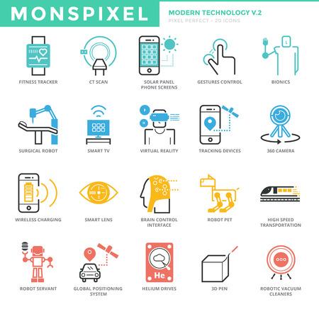 Los iconos planos delgada línea conjunto de la tecnología moderna. Iconos del pixel perfecto. Simple mono lineal concepto de accidente cerebrovascular paquete pictograma para los gráficos de la tela. Foto de archivo - 70080135