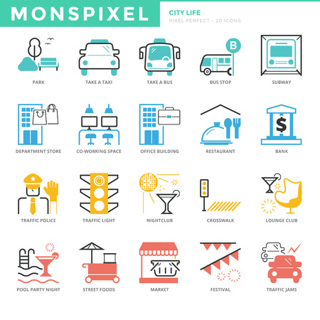 pixel perfect: Flat thin line Icons set of City life. Pixel Perfect Icons. Simple mono linear pictogram pack stroke   concept for web graphics Illustration