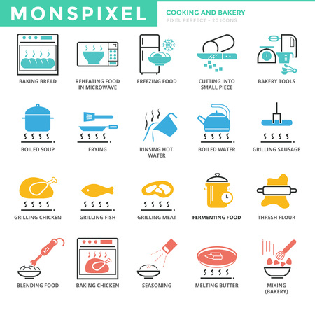 thresh: Flat thin line Icons set of Cooking and Bakery. Pixel Perfect Icons.  Simple mono linear pictogram pack stroke   concept for web graphics Illustration