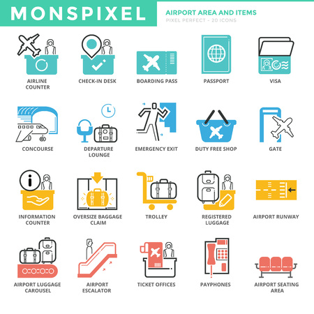 oversize: Flat thin line Icons set of Airport Area and Items. Pixel Perfect Icons.  Simple mono linear pictogram pack stroke   concept for web graphics