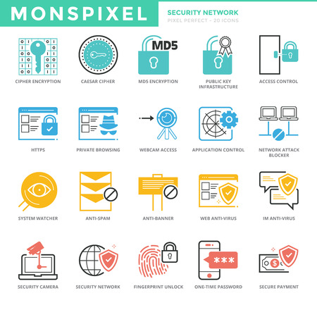 https: Flat thin line Icons set of Security Network. Pixel Perfect Icons.  Simple mono linear pictogram pack stroke   concept for web graphics
