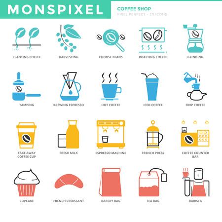 Icônes minces plats de ligne ensemble de Coffee Shop. Pixel Icons Parfait. Simple mono linéaire concept de course pack pictogramme pour les graphiques web