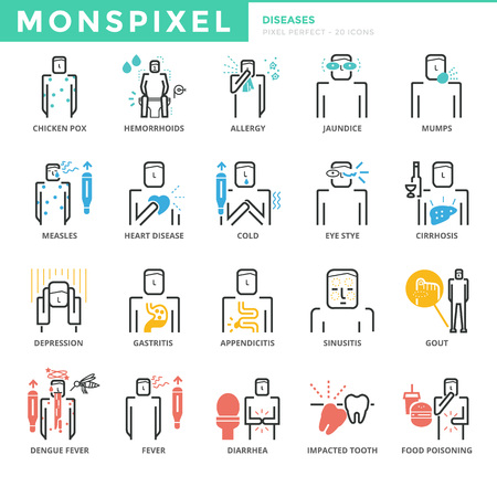 Flat thin line Icons set of Diseases and Symptom. Pixel Perfect Icons. Simple mono linear pictogram pack stroke concept for web graphics