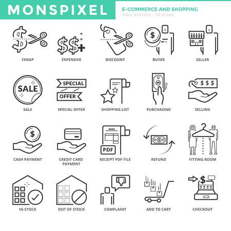 pixel perfect: Flat thin line Icons set of E-commerce and Shopping. Pixel Perfect Icons. Simple mono linear pictogram pack stroke   concept for web graphics