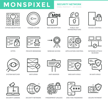 Flat thin line Icons set of Security Network. Pixel Perfect Icons. Simple mono linear pictogram pack stroke   concept for web graphics