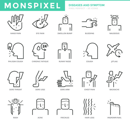 phlegm: Flat thin line Icons set of Diseases and Symptom. Pixel Perfect Icons.  Simple mono linear pictogram pack stroke   concept for web graphics