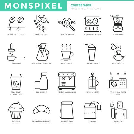 플랫 얇은 라인 커피 숍의 아이콘을 설정합니다. 픽셀 완벽한 아이콘. 웹 그래픽을위한 간단한 모노 선형 픽토그램 팩 스트로크 개념