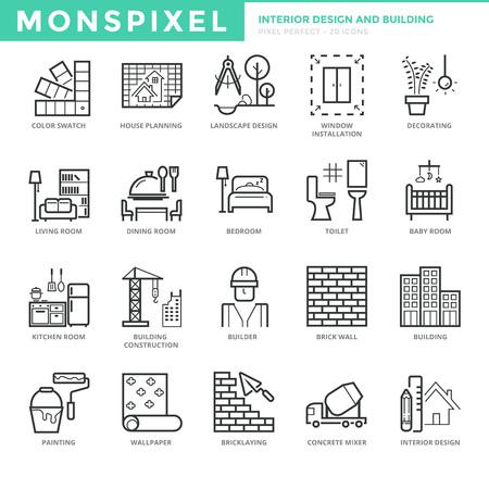 Flache dünne Linie Icons set of Interior Design und Bau. Pixel Perfect Icons. Einfache Mono linear Piktogramm Pack Hub-Konzept für Web-Grafiken