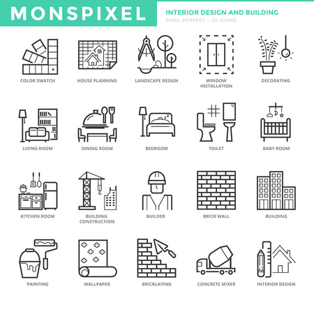 Flat thin line Icons set of Interior Design and Building. Pixel Perfect Icons. Simple mono linear pictogram pack stroke concept for web graphics