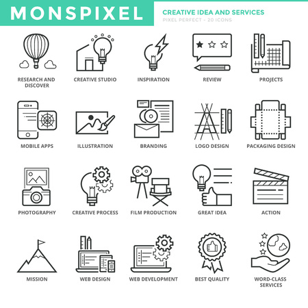 Flat thin line Icons set of Creative Idea and Services. Pixel Perfect Icons. Simple mono linear pictogram pack stroke concept for web graphics