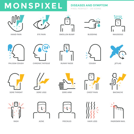 Flat thin line Icons set of Diseases and Symptom. Pixel Perfect Icons. Simple mono linear pictogram pack stroke  concept for web graphics.