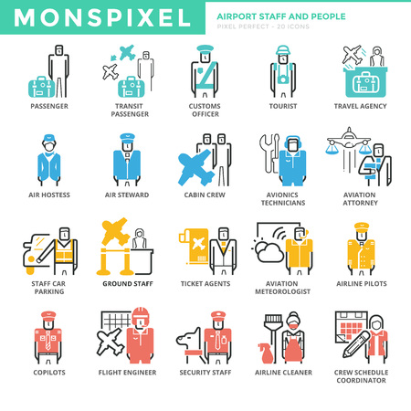 Flat Icons set of Airport Staff and People. Pixel Perfect Icons. Simple pictogram pack concept for web graphics Illustration