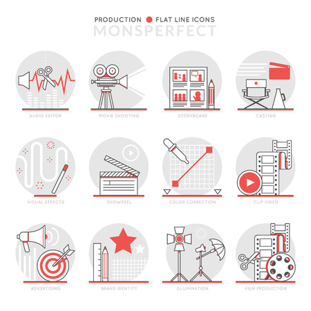 showreel: Infographics Icons Elements about Production. Flat Thin Line Icons Set Pictogram for Website and Mobile Application Graphics. Illustration