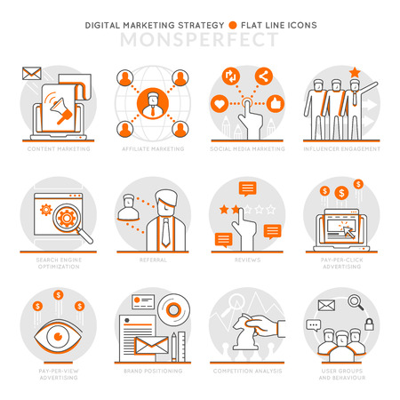 Infographics Icons Elements about Digital Marketing Strategy. Flat Thin Line Icons Set Pictogram for Website and Mobile Application Graphics.