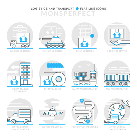 Infographic Icons Elements about Logistics and Transport. Flat Thin Line Icons Set Pictogram for Website and Mobile Application Graphics. Illustration