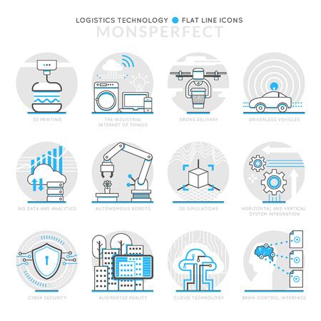Iconos infografía elementos acerca de la tecnología de la Logística. Iconos plana delgada línea de set pictograma para la web móvil y la aplicación de gráficos.